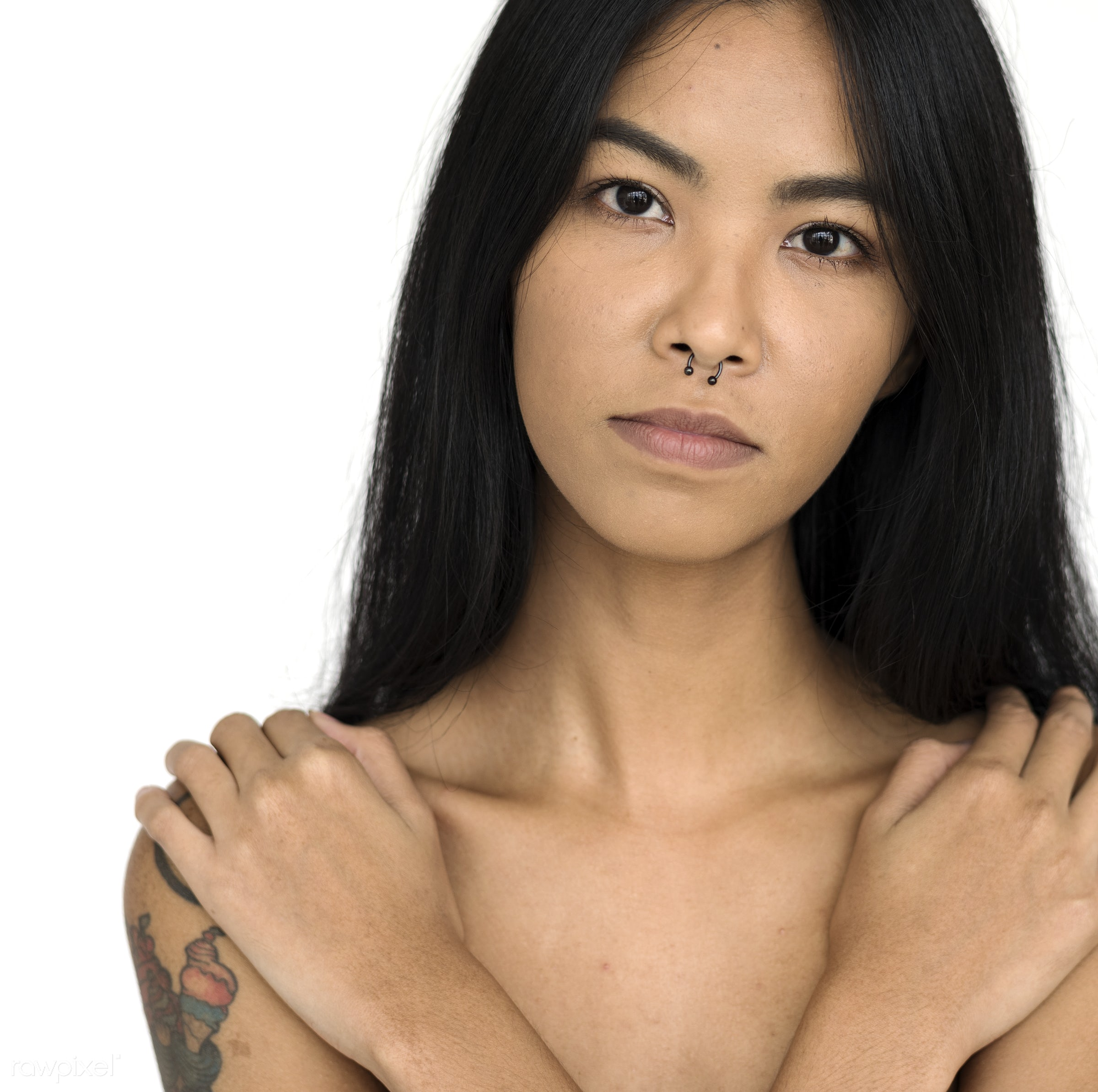 studio, expression, person, model, isolated on white, people, race, girl, style, woman, casual, lifestyle, tattoo, isolated...
