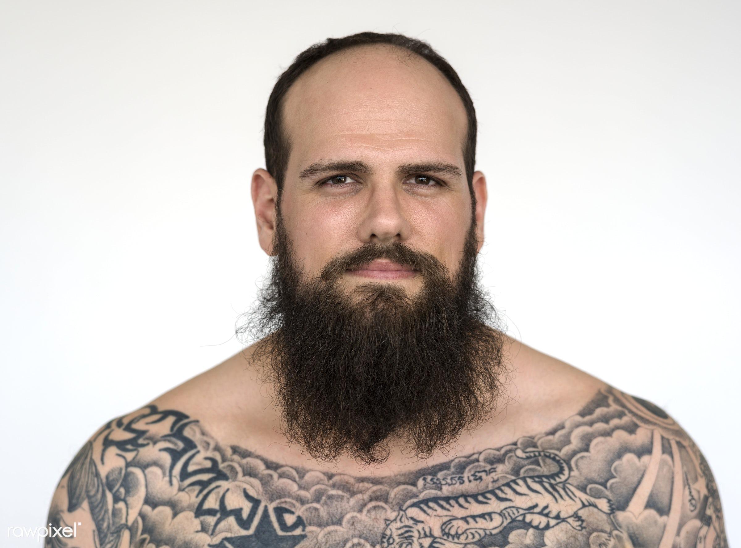 Portrait of a big tattooed bearded man - studio, body, model, concept, person, technician, people, skin, style, nature,...