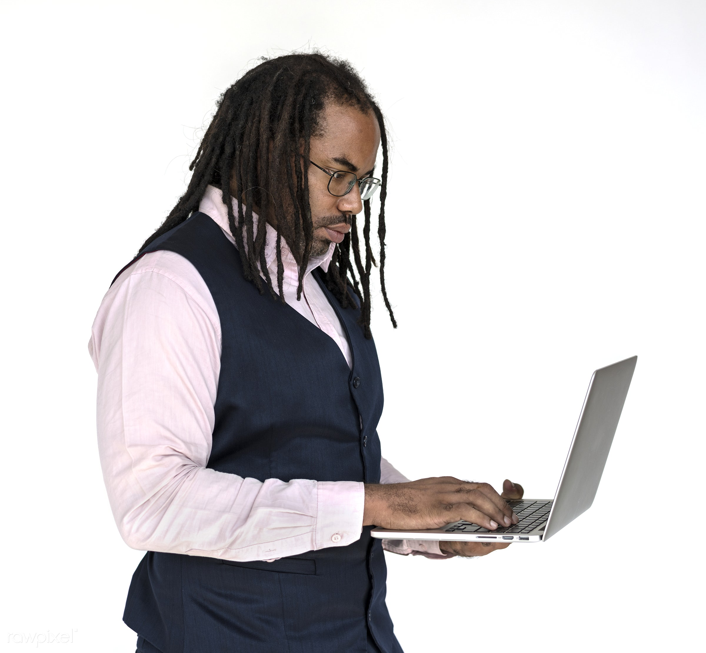 expression, computer, studio, model, person, isolated on white, people, race, digital, style, casual, lifestyle, laptop, men...