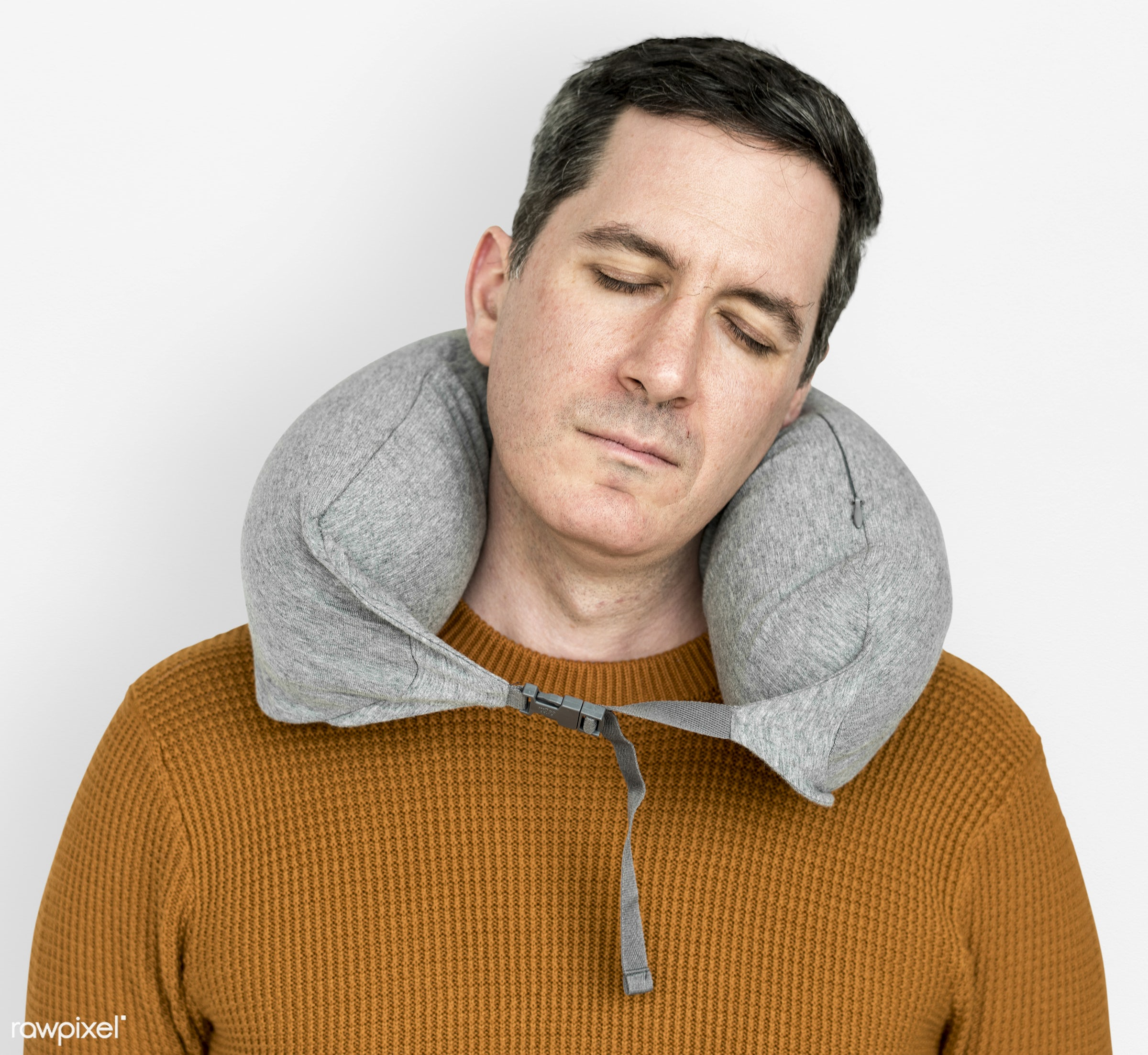 studio, person, relax, neck support, people, comfortable, sleepy, isolated, support, exhausted, white, cushion, portrait,...