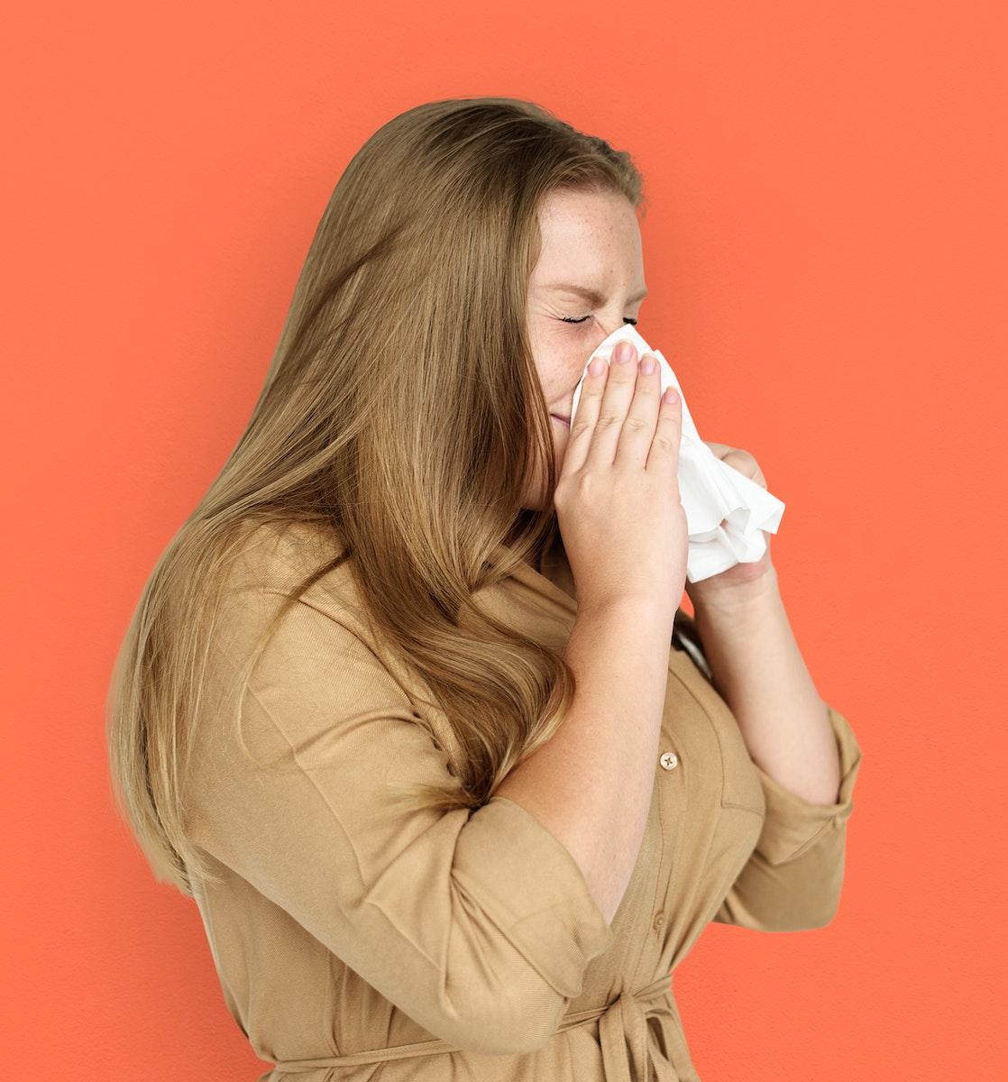 Caucasian Woman Sneezing Crying Tissue