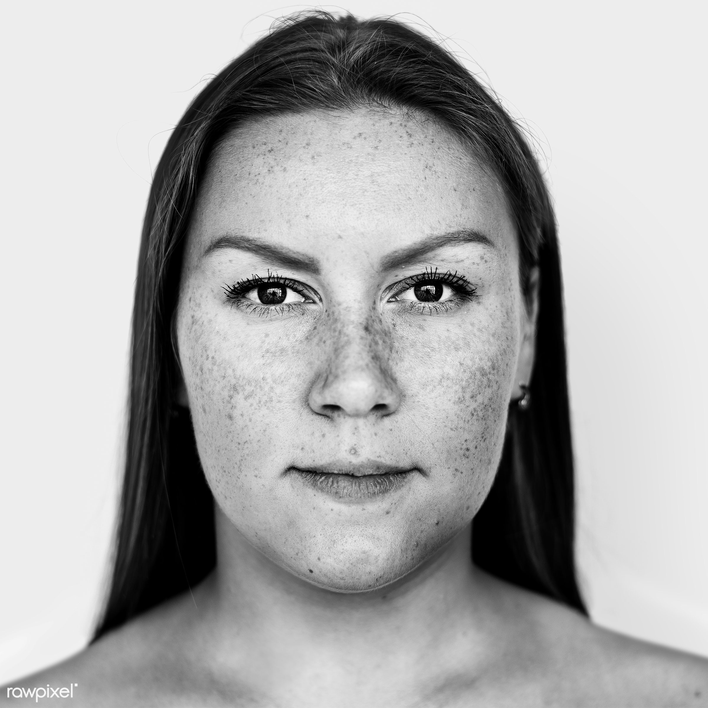 Portrait of a Russian woman - face, alone, black and white, casual, caucasian, closeup, emotion, europe, european,...