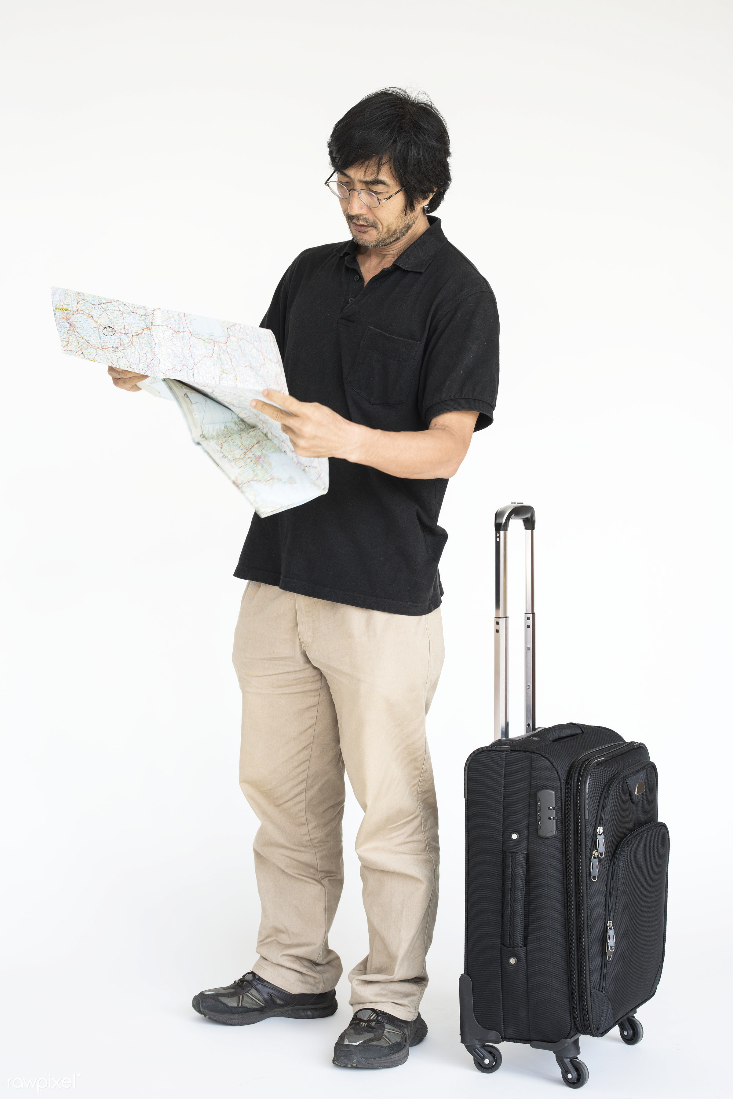 studio, expression, person, model, direction, isolated on white, luggage, race, people, style, casual, lifestyle, map, men,...
