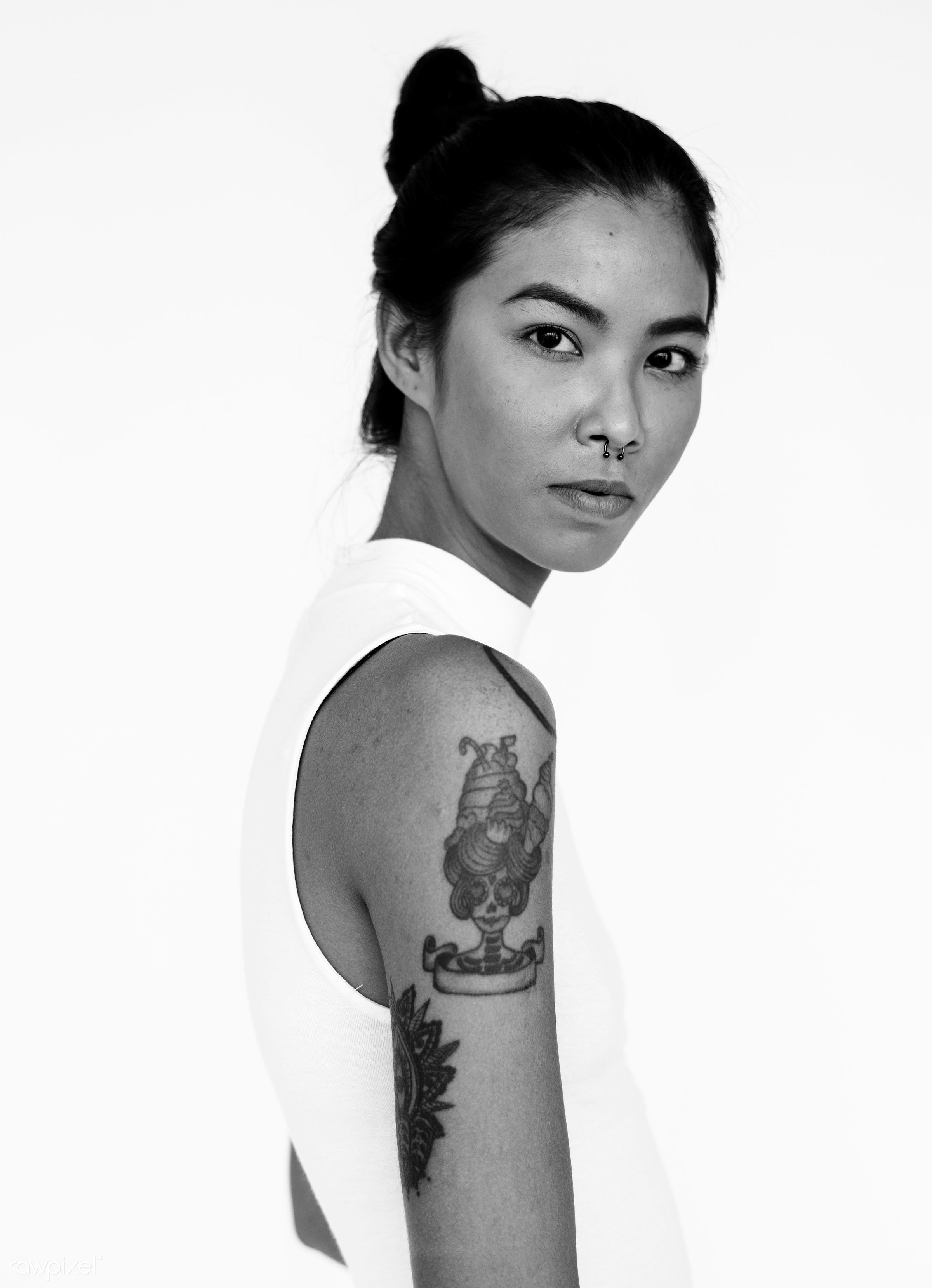 studio, expression, person, model, isolated on white, race, people, girl, style, woman, casual, lifestyle, tattoo, isolated...