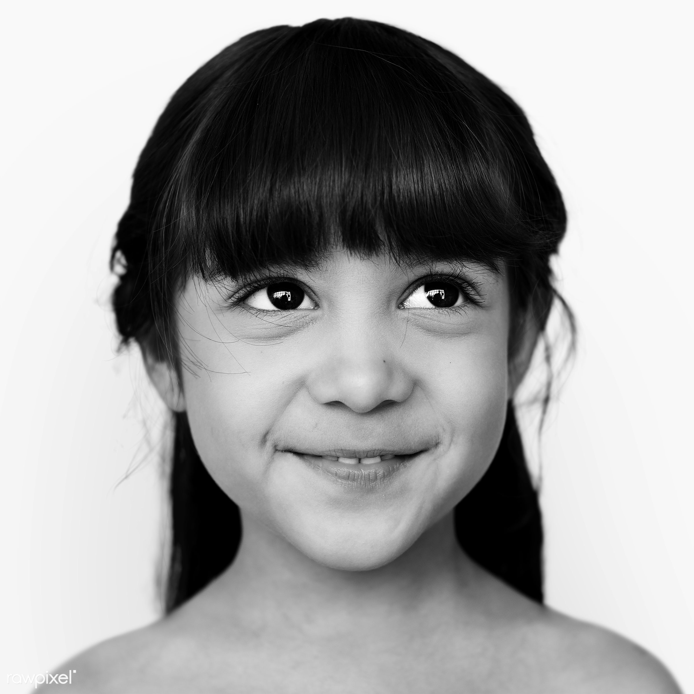 Portrait of a French-Thai girl - alone, black and white, cheerful, child, children, elementary, elementary age, emotion,...
