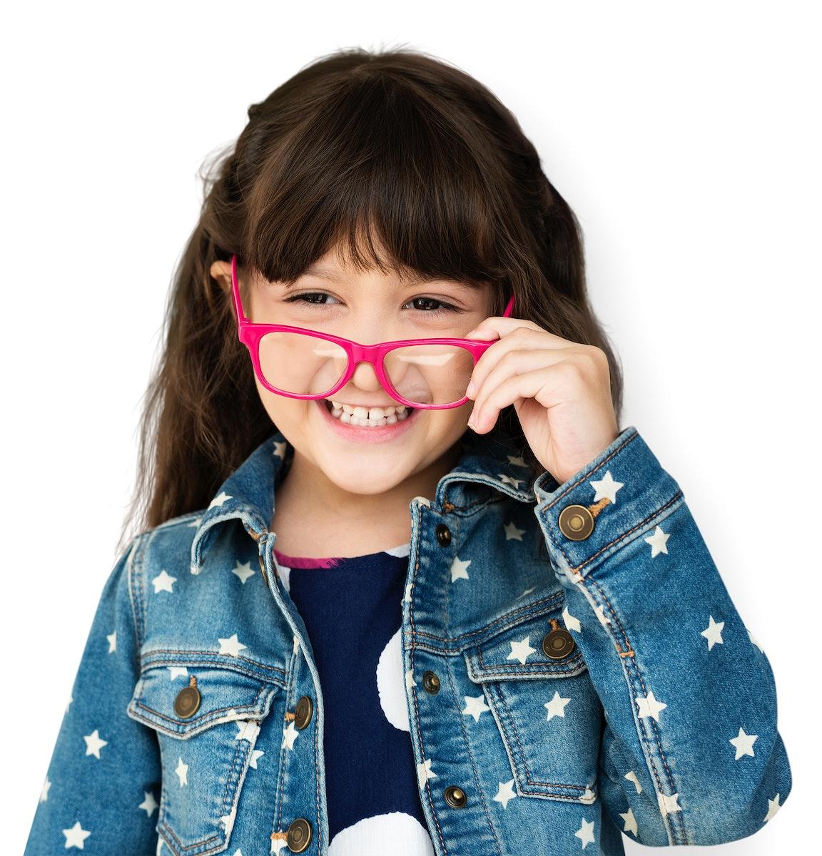 Young Girl Wear Eyeglasses Smile Studio