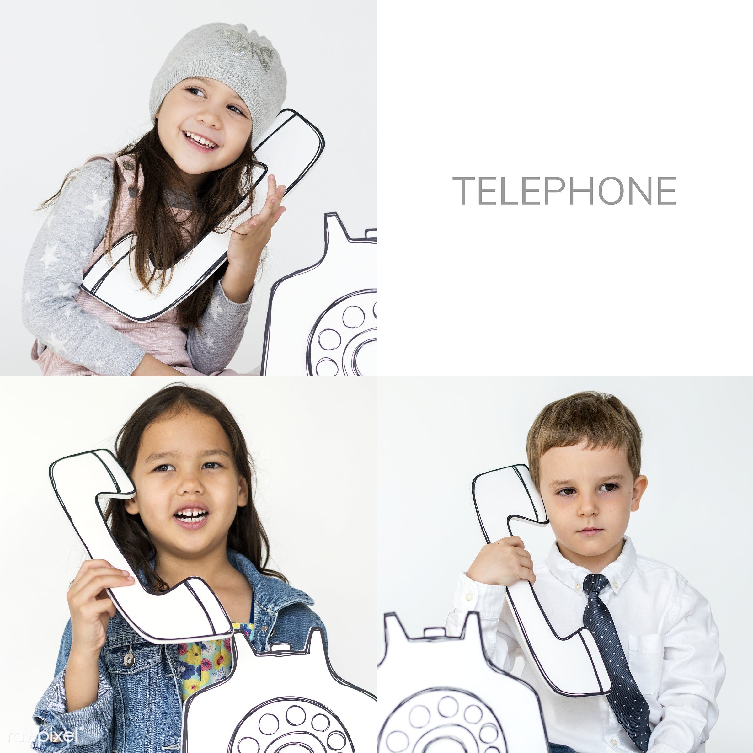 virtual, studio, invention, call, phone, person, technology, playful, set, use, children, calling, people, kid, child, life...