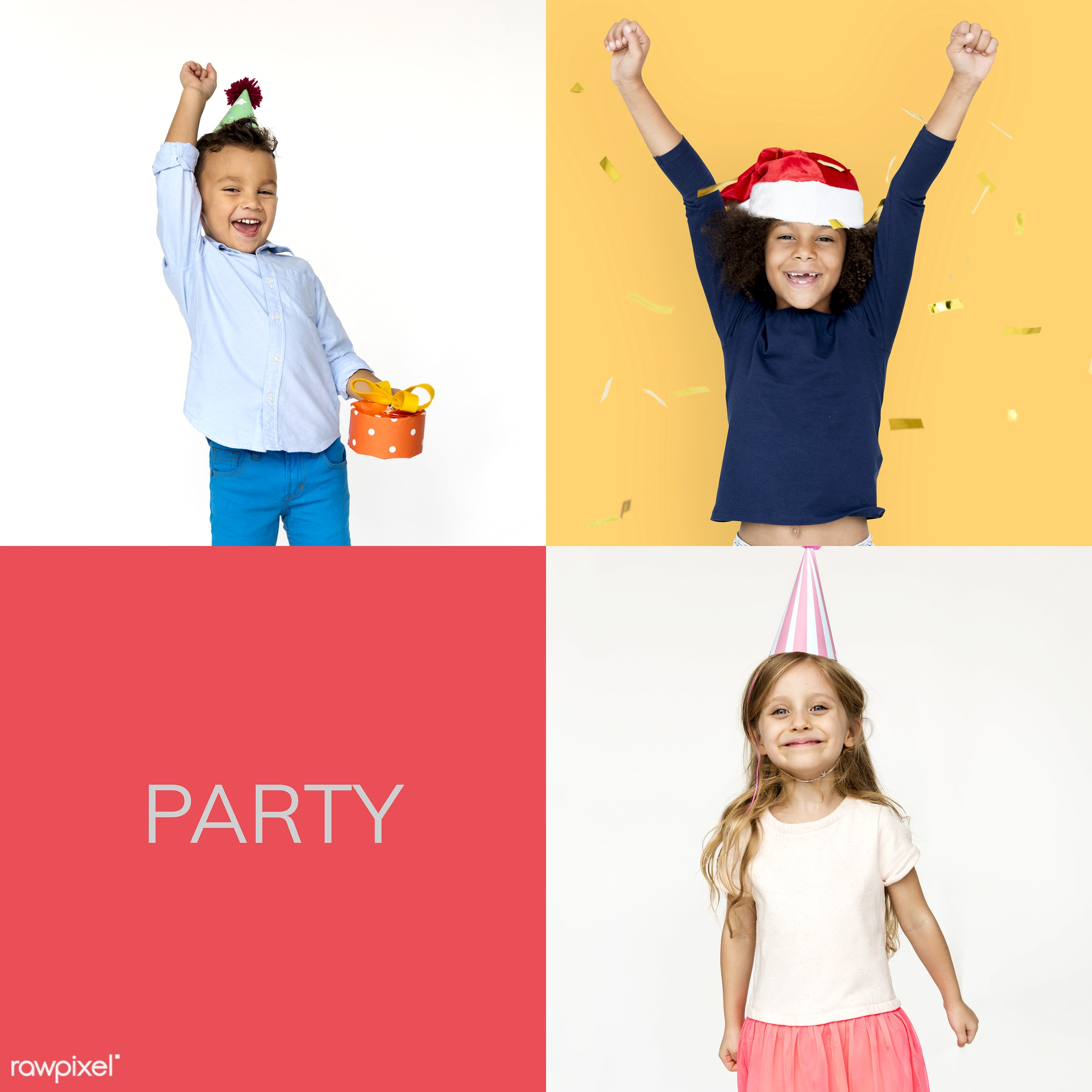 Set of portraits of kids - studio, relax, party, positivity, lifestyle, positive, smiling, schoolgirl, isolated, little girl...
