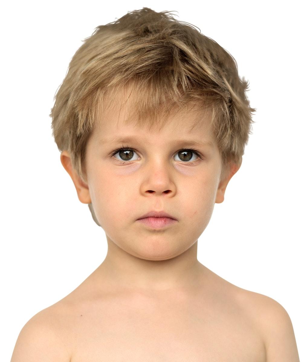 Little Boy Bare Chest Studio Portrait Young Adorable
