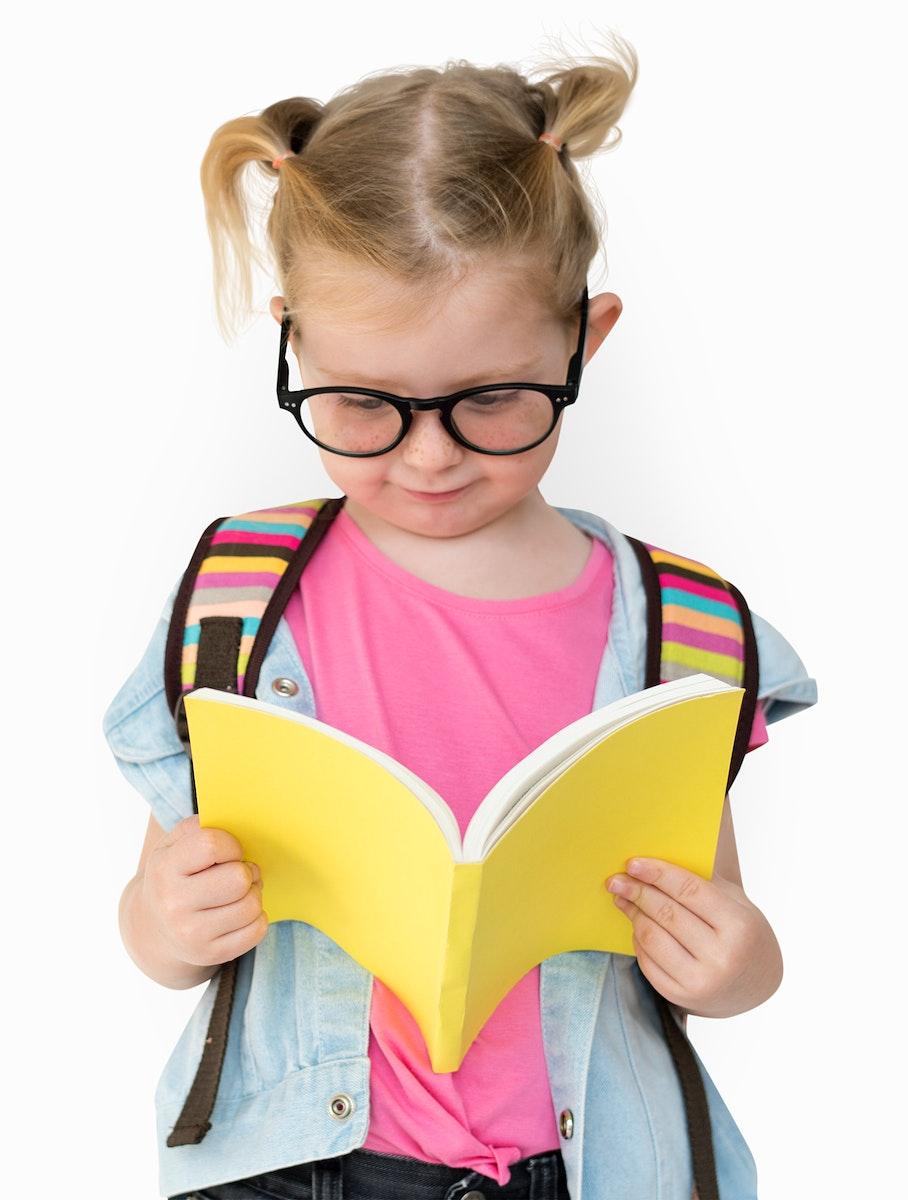 Little Girl Read Hands Hold Book