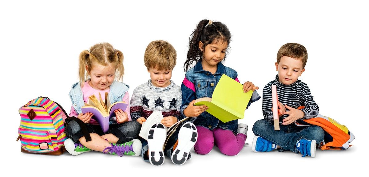 Little Kids Reading Book Cheerful