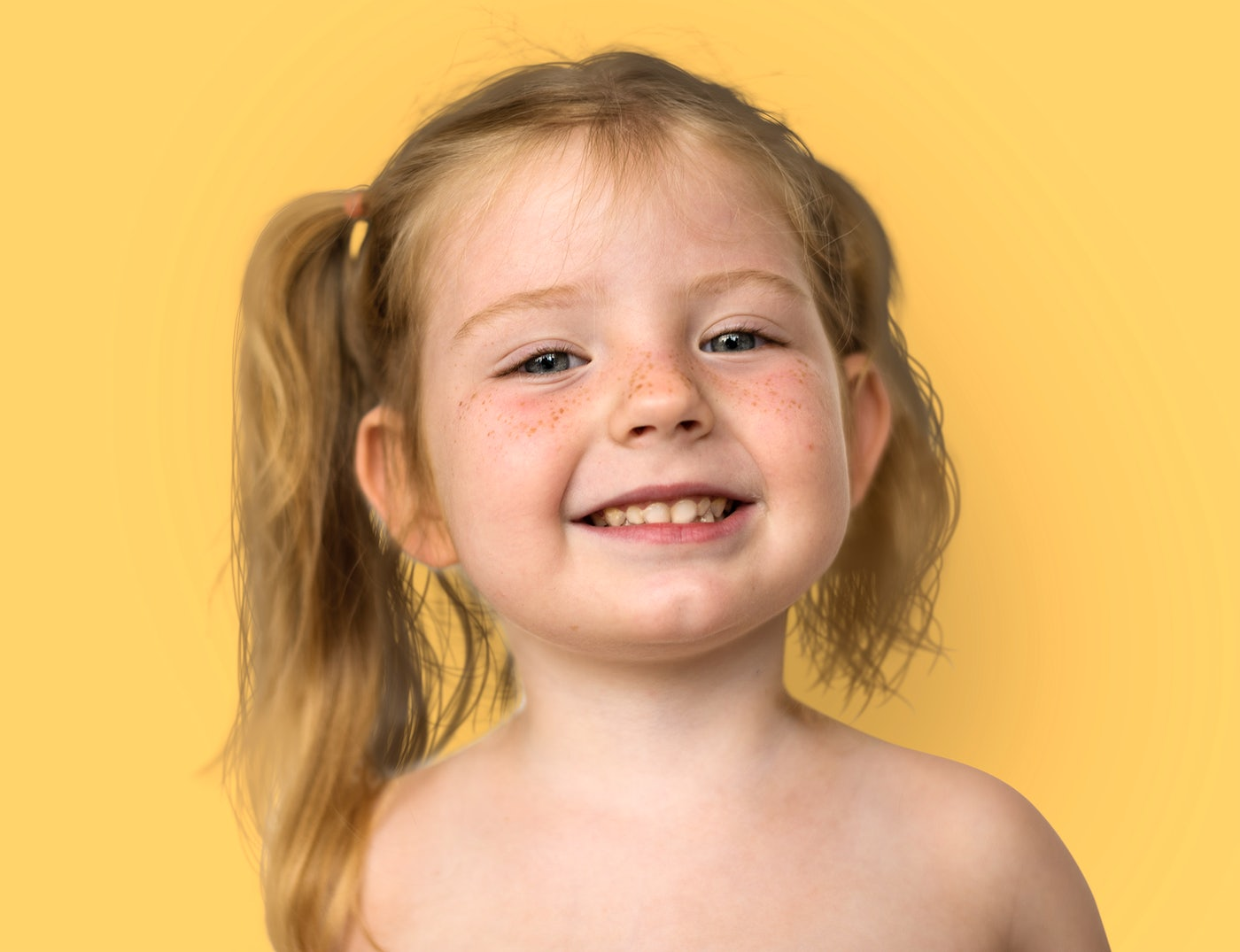 Caucasian Little Girl Bare Chested Smiling | Royalty free