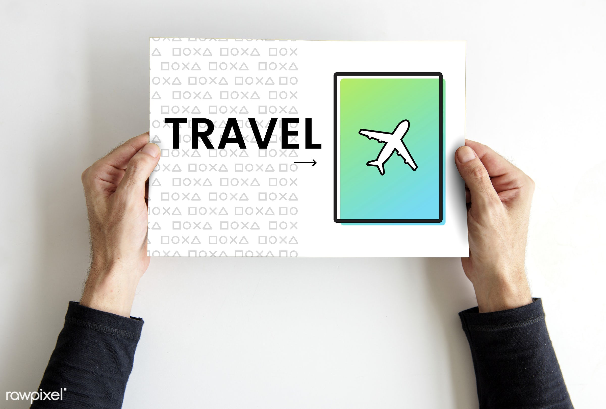 Hands holding a travel sign - wander, studio, person, top view, relax, pioneer, show, travel, people, exploration, placard,...