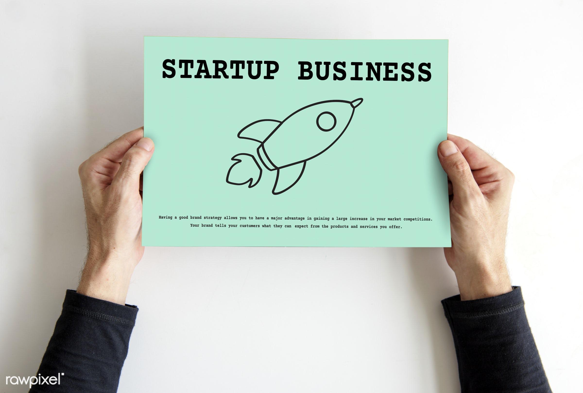 Start up mock up shoot - rocket, announce, business, business plan, creative, development, enterprise, futuristic, hands,...