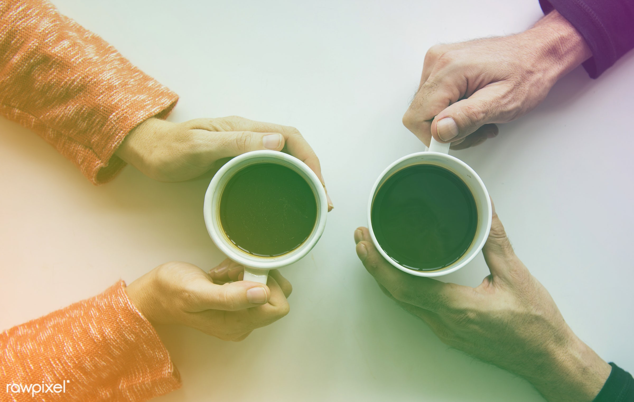Aerial view of hands holding coffee cups  - concept, person, warm, holding, relax, simple, space, tea, people, hand, mug,...