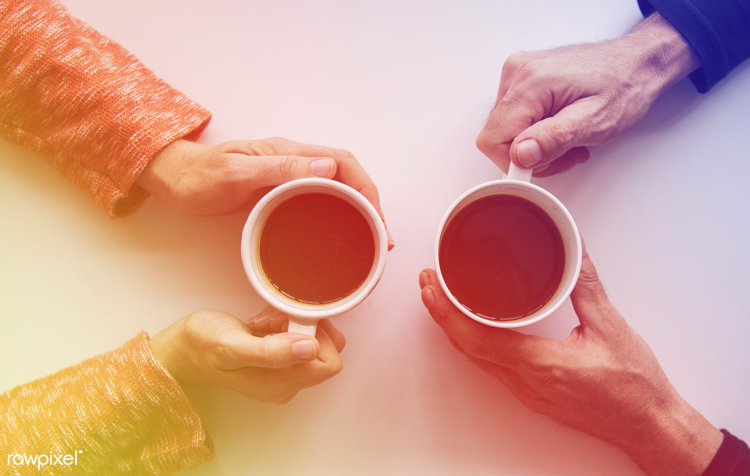 concept, person, warm, holding, relax, simple, space, tea, people, hand, mug, break, drink, aerial view, cups, coffee,...