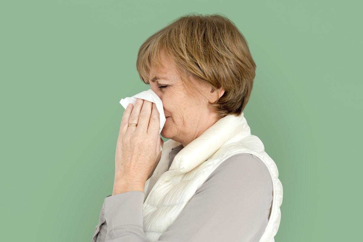 Woman Sad Crying Depress Sneeze Studio Portrait