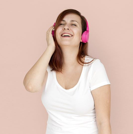 Woman Smiling Happiness Headphones Music Entertainment