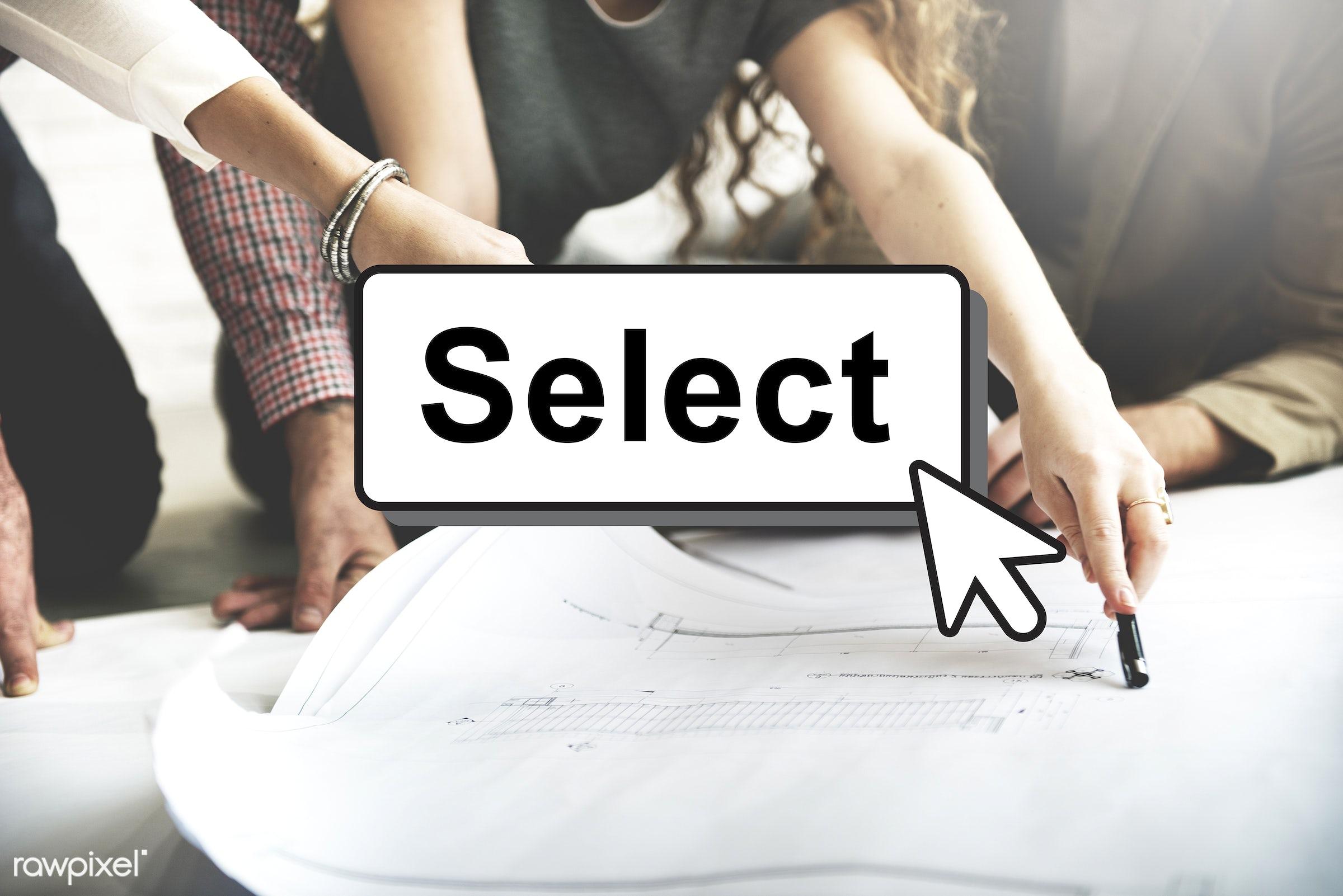 choice, analysing, analysis, answer, blueprint, business, businessmen, businesswomen, choose, choosing, colleagues, compare...
