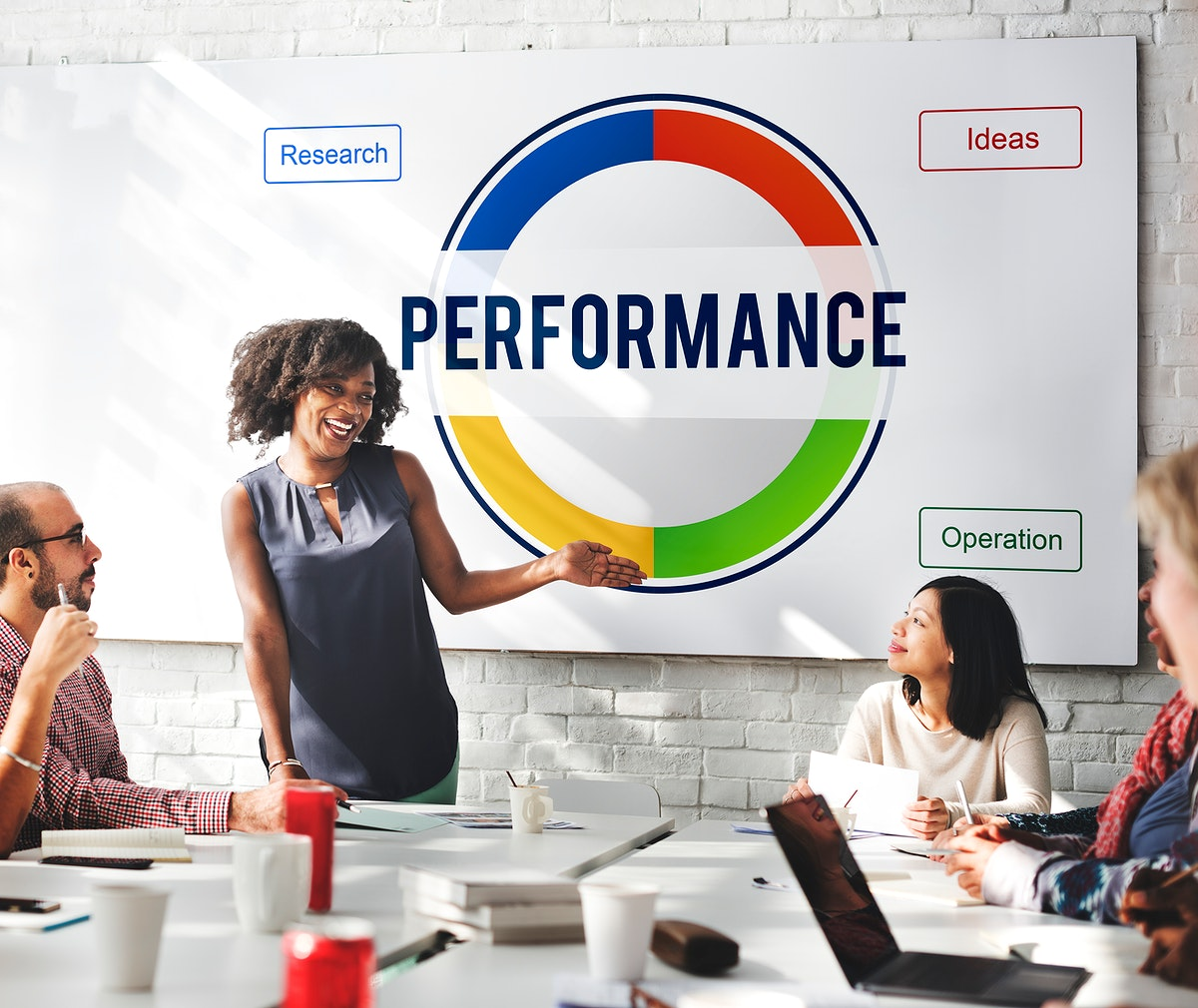 Woman giving a presentation about performance