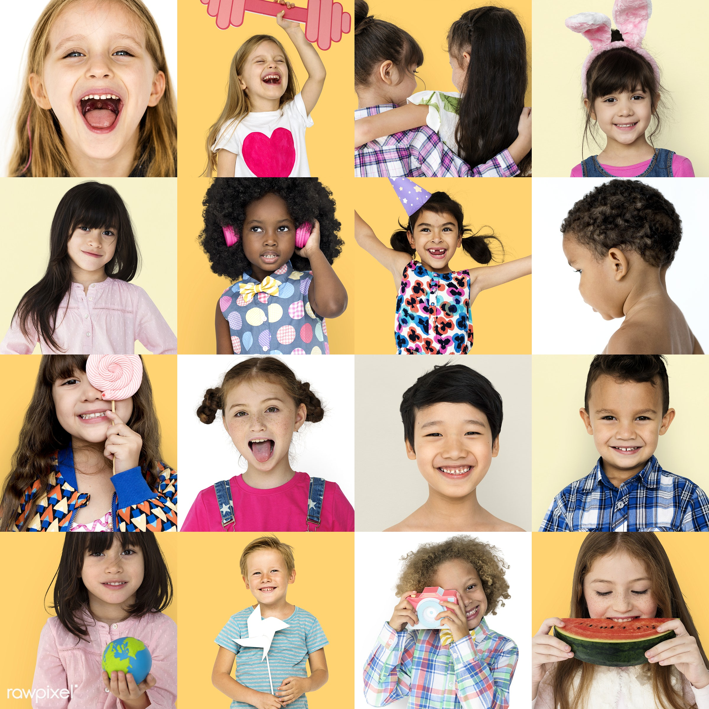 diverse, people, positivity, caucasian, asian, friends, woman, childhood, cheerful, smiling, schoolgirl, isolated, little...