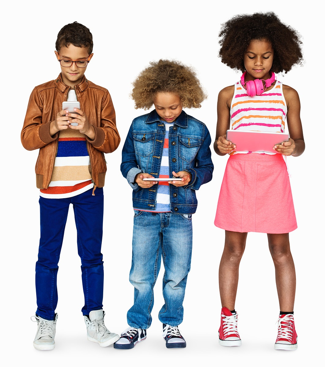 Kids playing on mobile devices