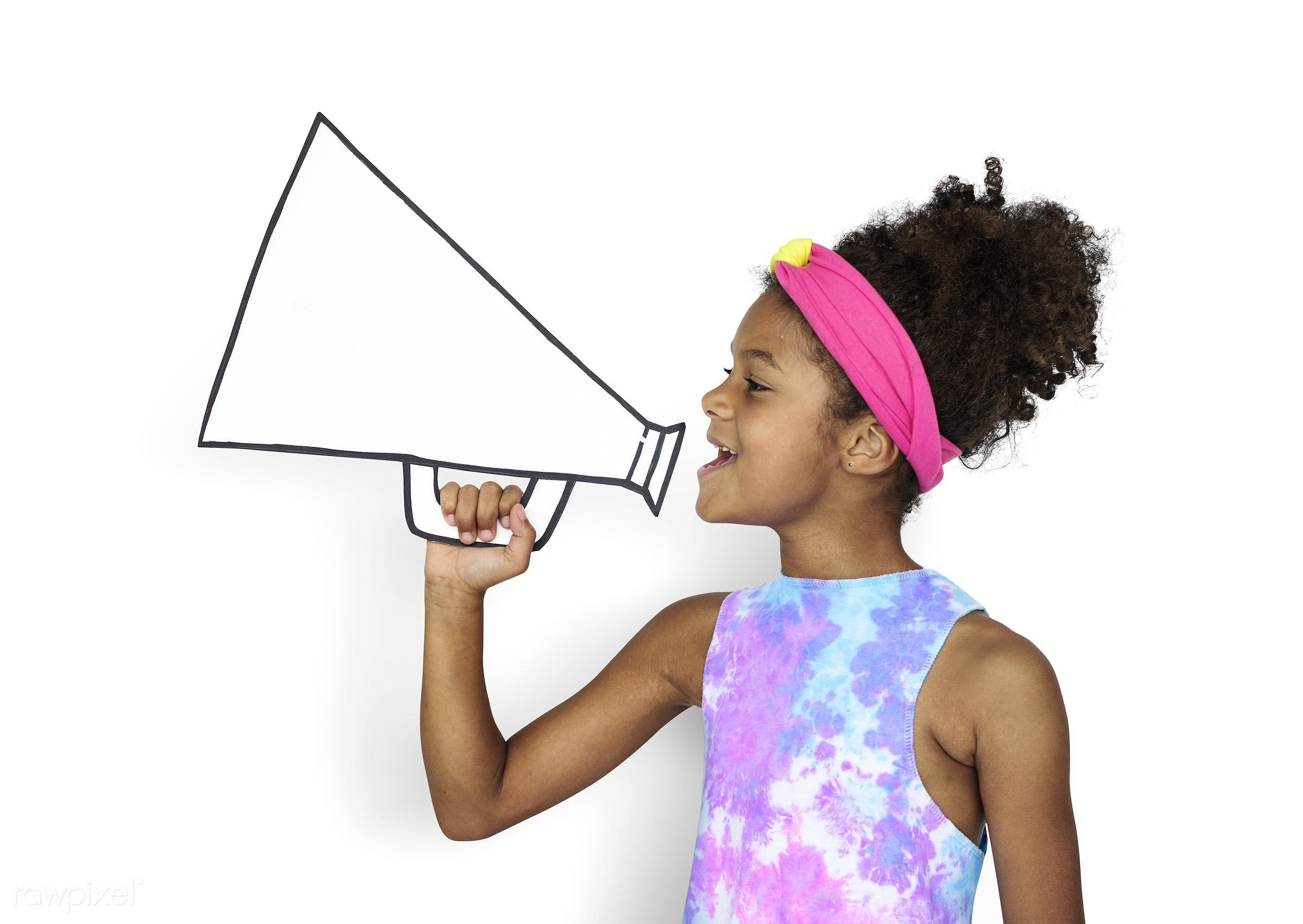 kid, megaphone, child, announcement, craft, mockup, happy, holding, smile, adorable, african descent, arts, background,...