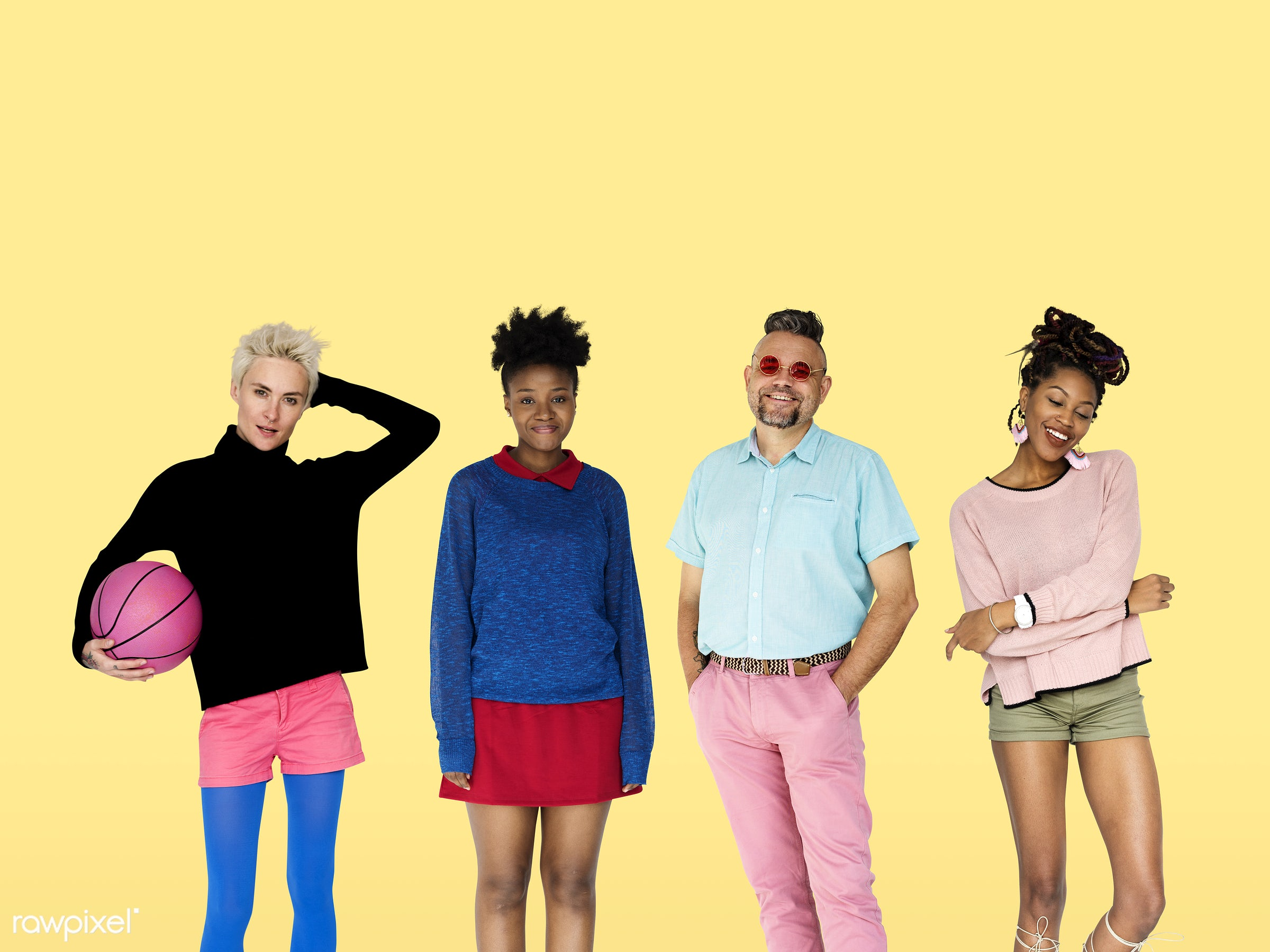 expression, studio, person, funky, diverse, colorful, set, retro, collection, people, race, together, caucasian, life, style...