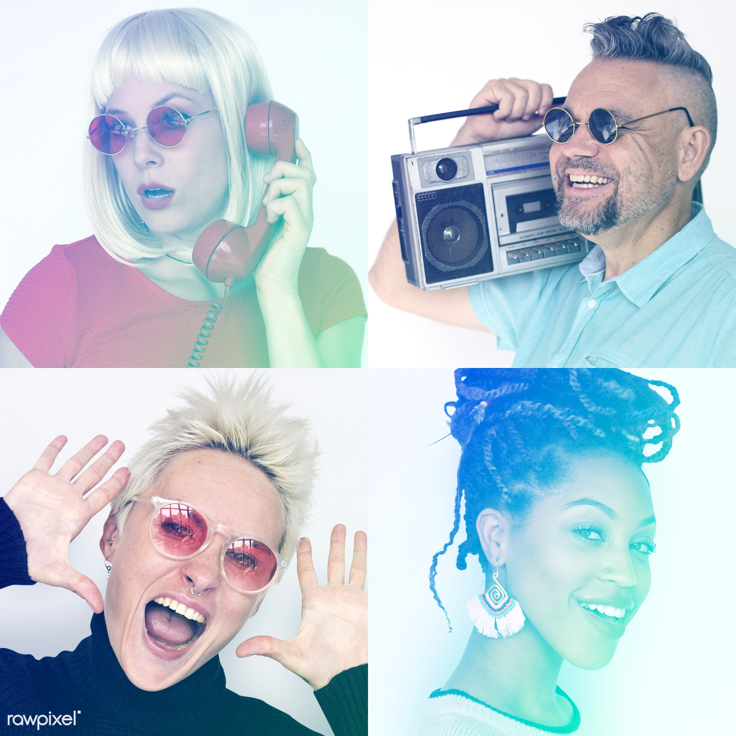 Set of portraits of funky looking people - studio, diverse, set, retro, collection, optimistic, people, positivity, face...