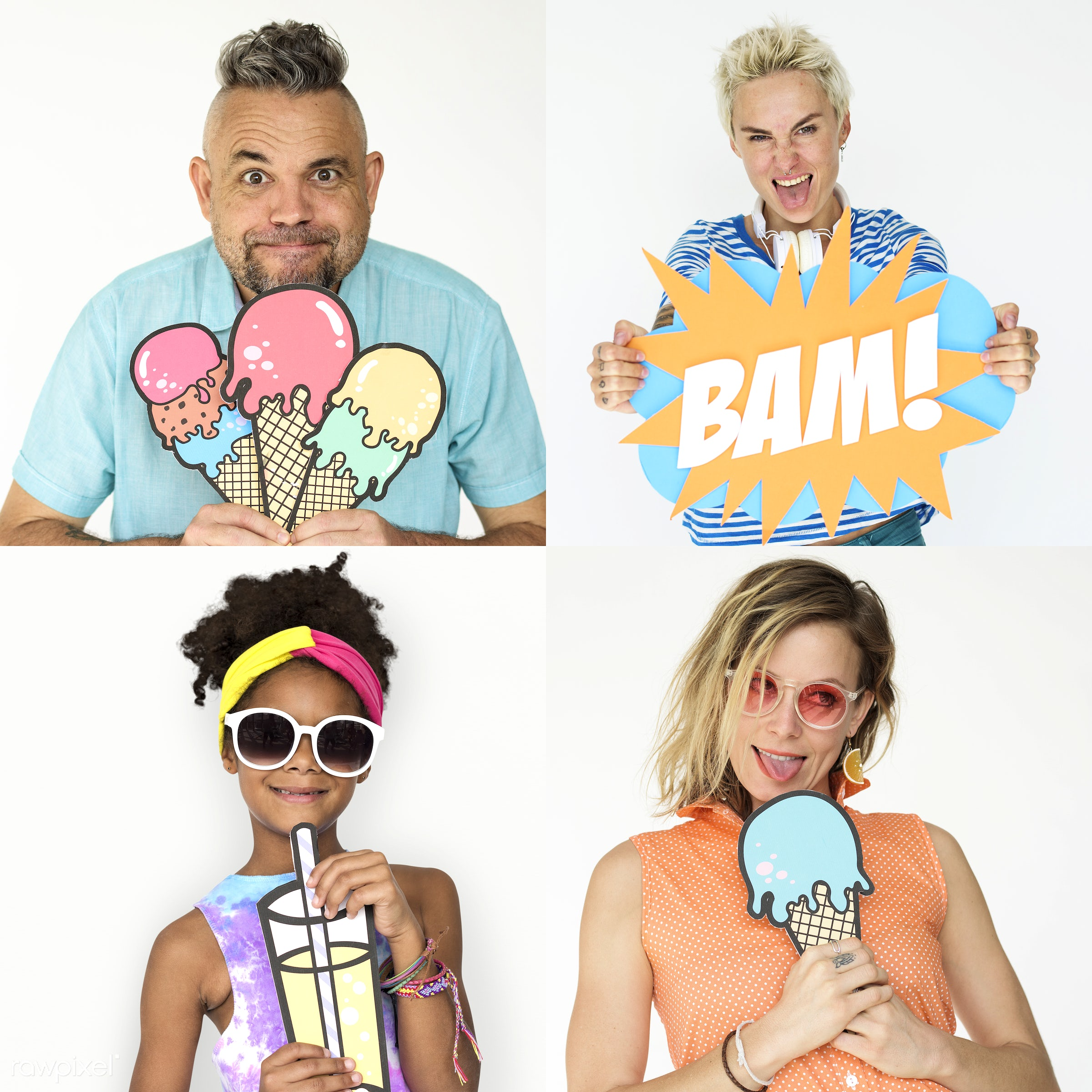 Set of portraits of funky looking people - studio, ice-cream, drinking, diverse, isolated on white, paper, set, trendy,...