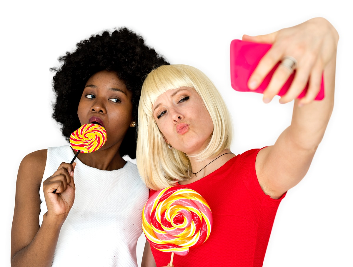 Friends Lollipop Candy Taking Selfie