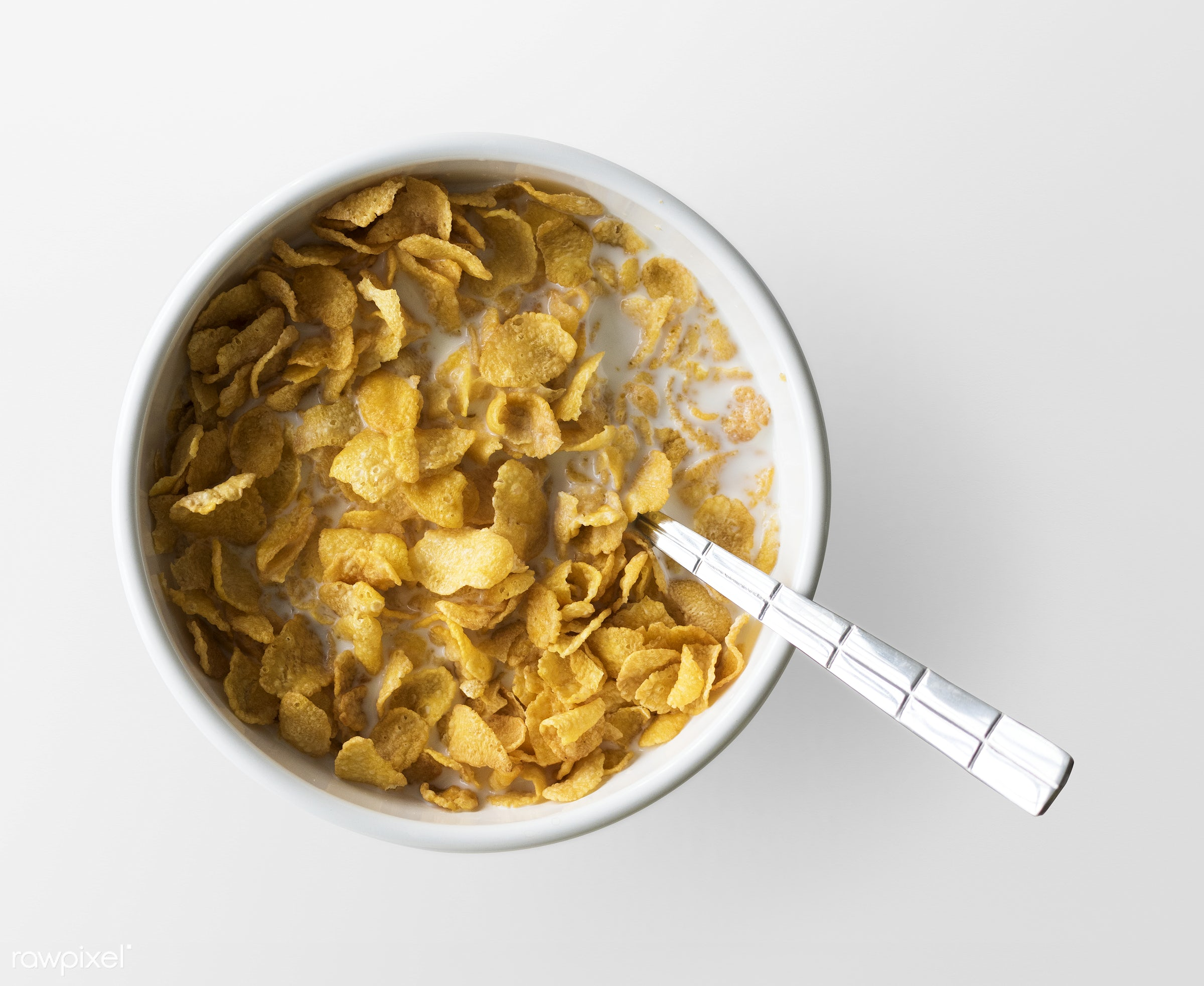 breakfast, cereal, milk, aerial view, background, bowl, cornflake, crisp, crunchy, delicious, diet, energy, food, healthy,...