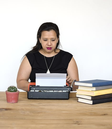 Woman Working Typewriter Office Workplace
