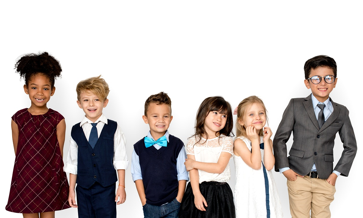 Gorup of Kids Standing In The Row