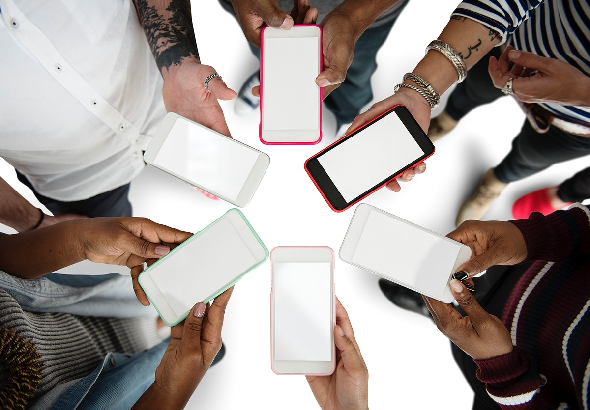 Hands Hold Blank Mobile Phone Together Copy Space
