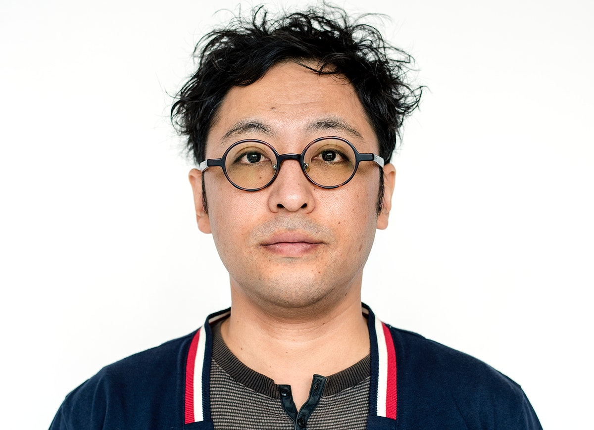 Worldface-Japanese guy in a white background