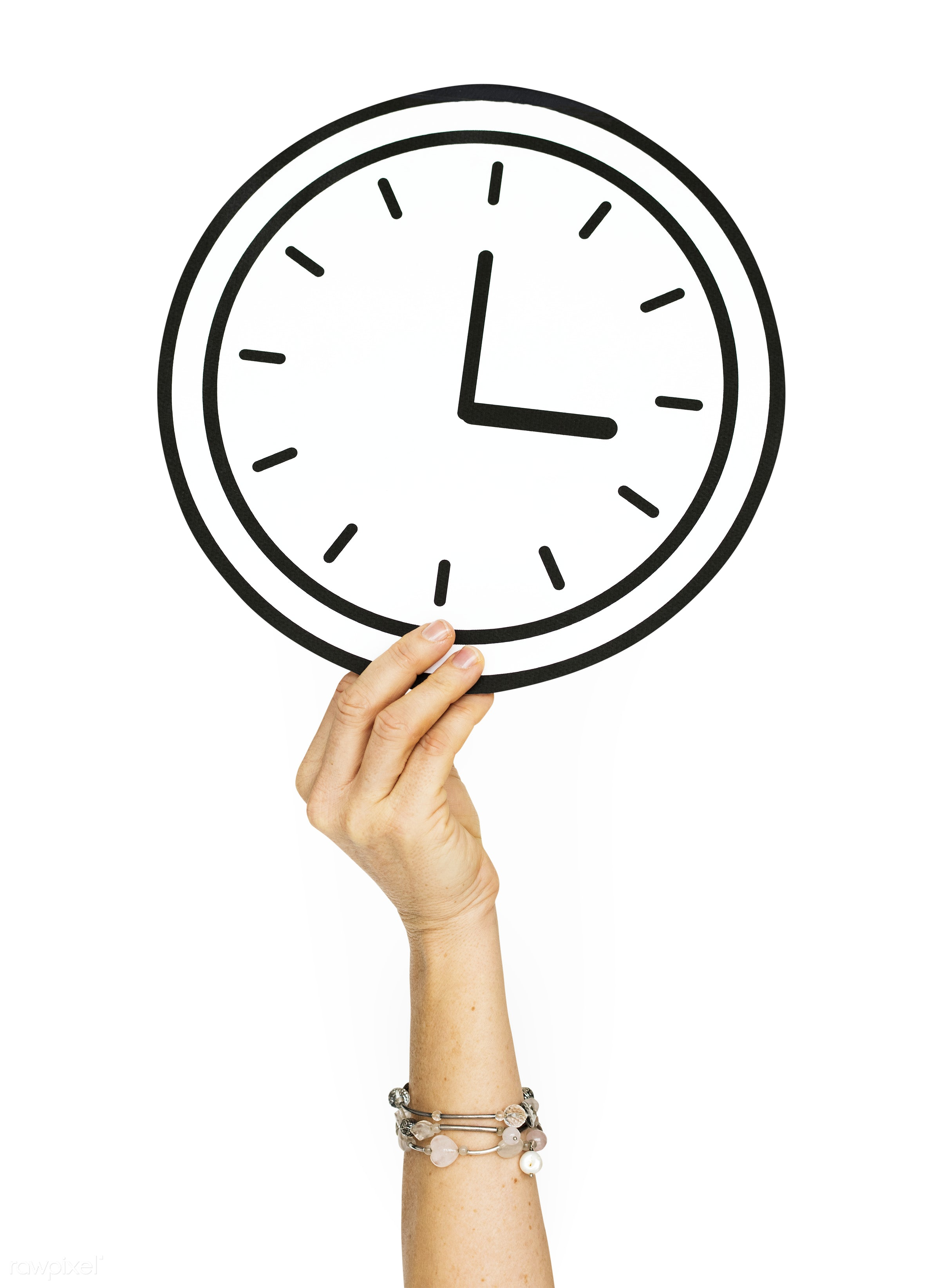 clock, art, background, creative, design, hand, hold, holding, human, isolated, isolated on white, late, on time, paper,...