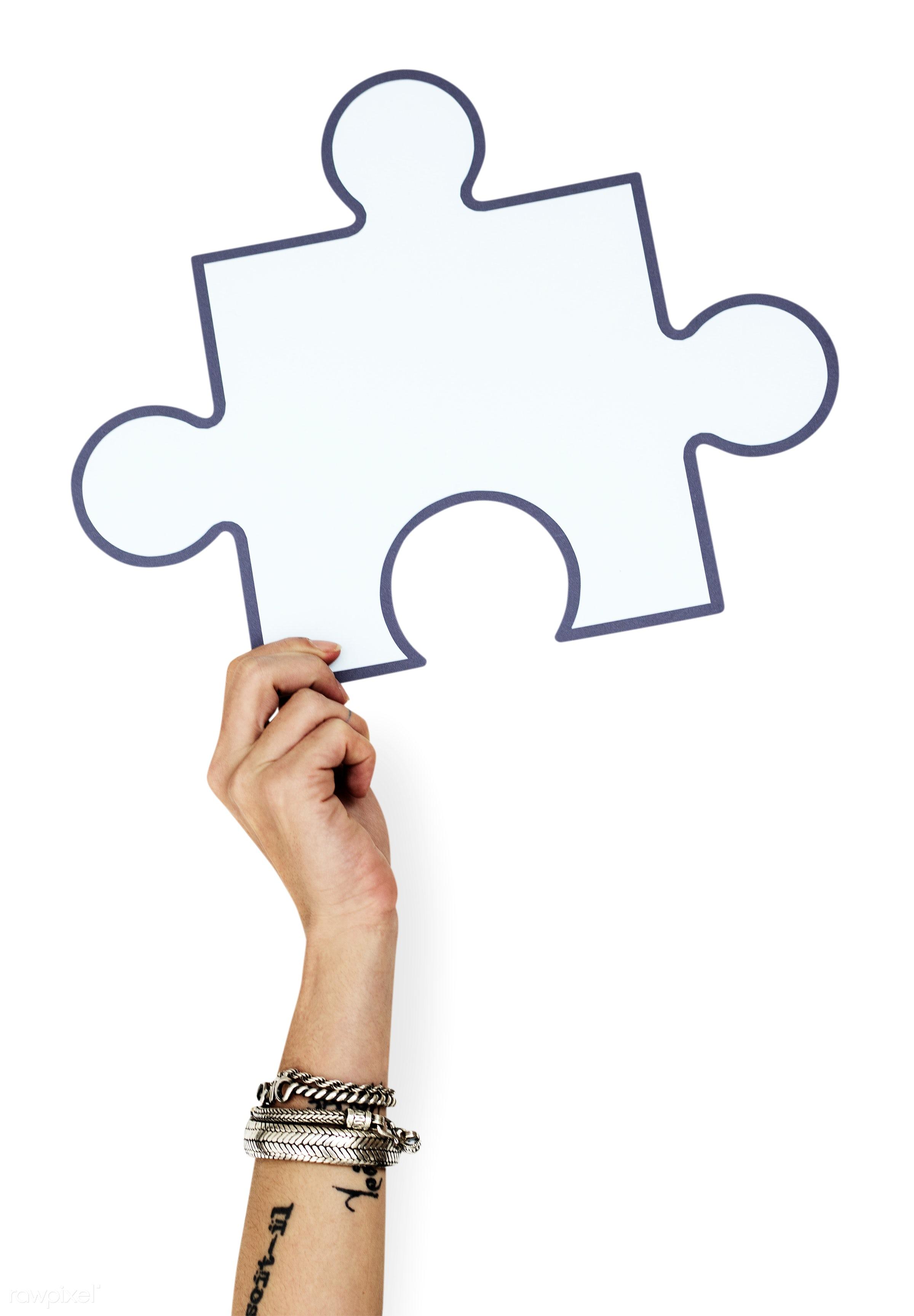 studio, craft, raise, jigsaw, holding, paper, handicraft, illustration, hand, arm, puzzle, isolated, symbol, white, game,...