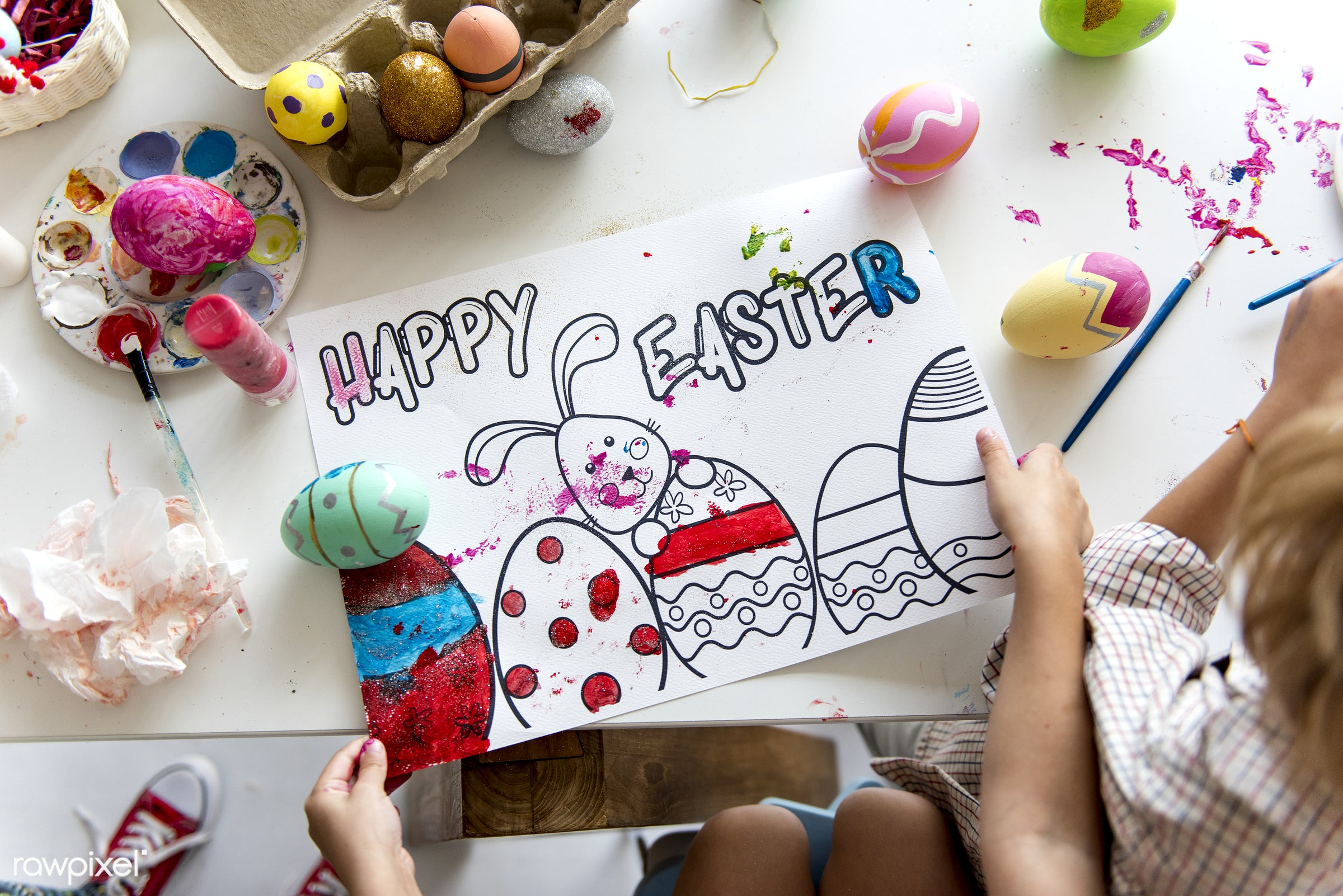 aerial view, art, children, coloring, decoration, drawing, easter, eggs, festival, hands, happy easter, holiday, kids,...