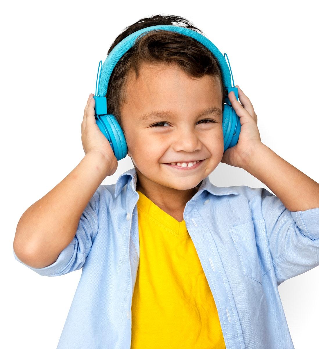 Boy Listening Music Studio Concept