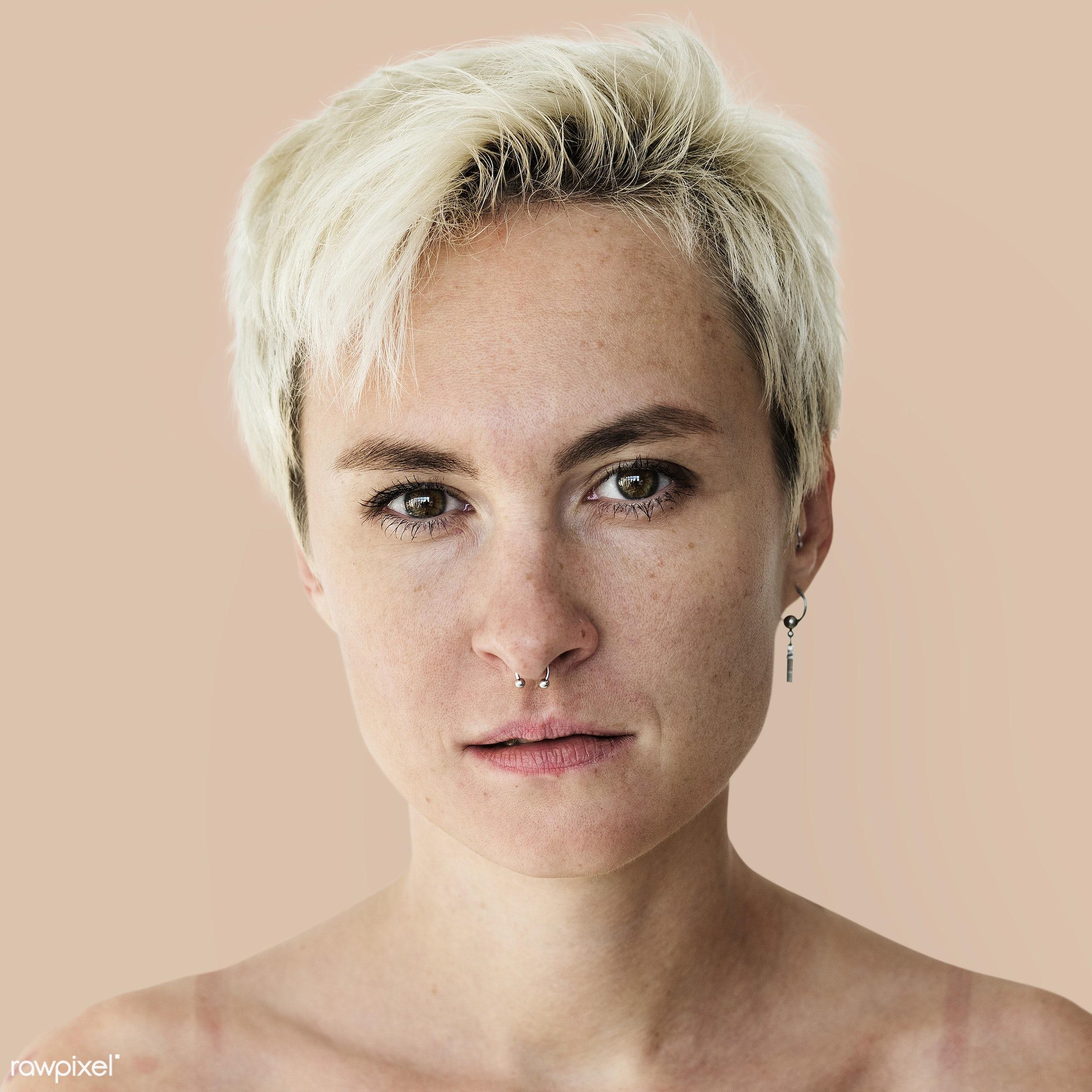 Portrait of a Kazakh woman - alone, bare chest, blonde, central asian, emotion, expression, face, feeling, girl, kazakh,...