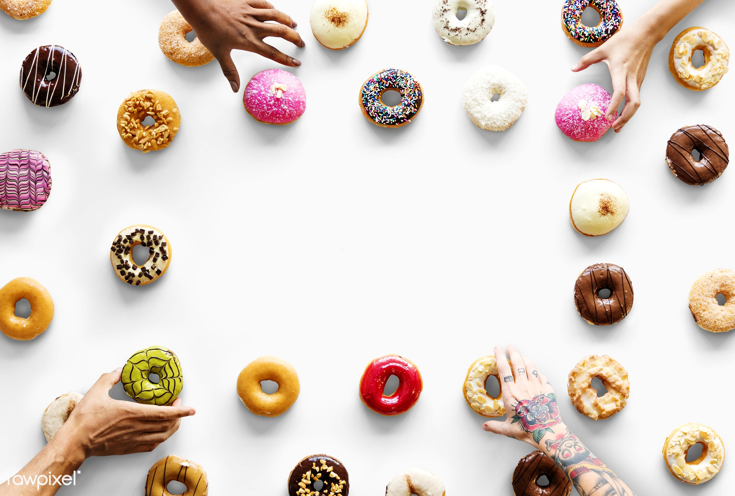 chocolate, donut, mockup, bake, bakery, break, choose, circle, collection, colorful, copy space, delicious, design space,...