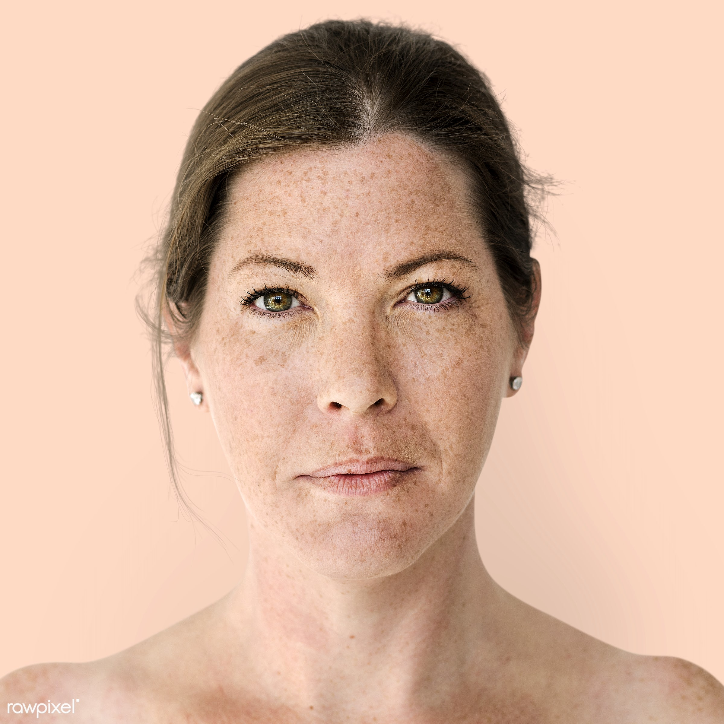 Portrait of a British woman - alone, bare chest, britain, british, emotion, england, europe, european, expression, face,...