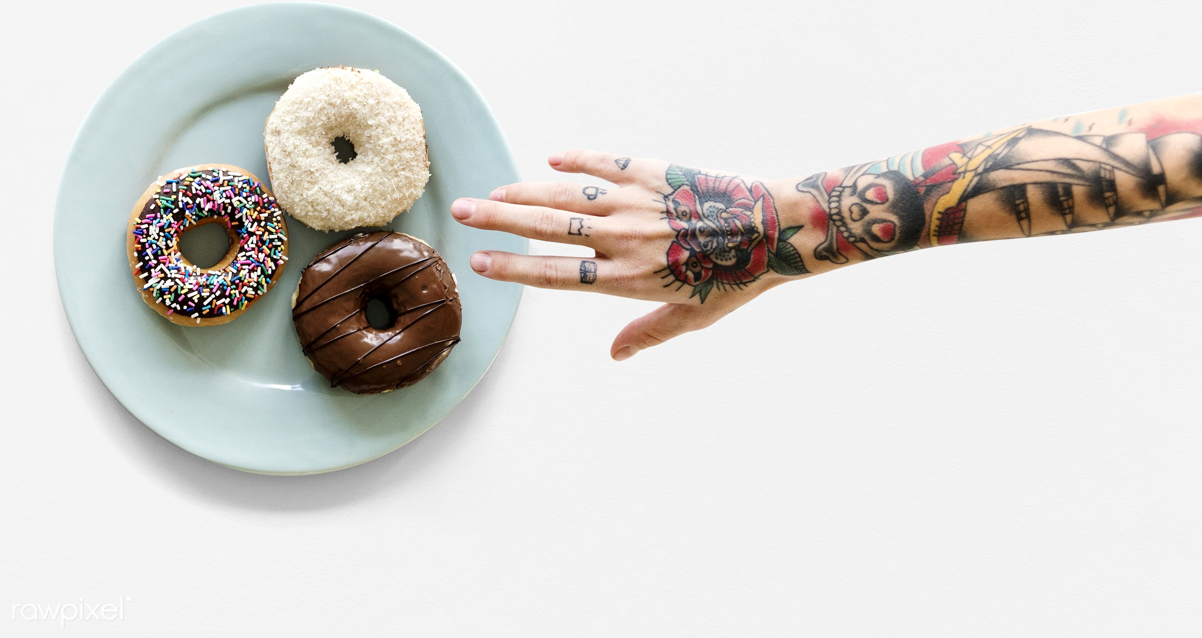 food, donut, tattoo, aerial view, colorful, delicious, dessert, doughnut, edible, glossy, hand, holding, human hand,...