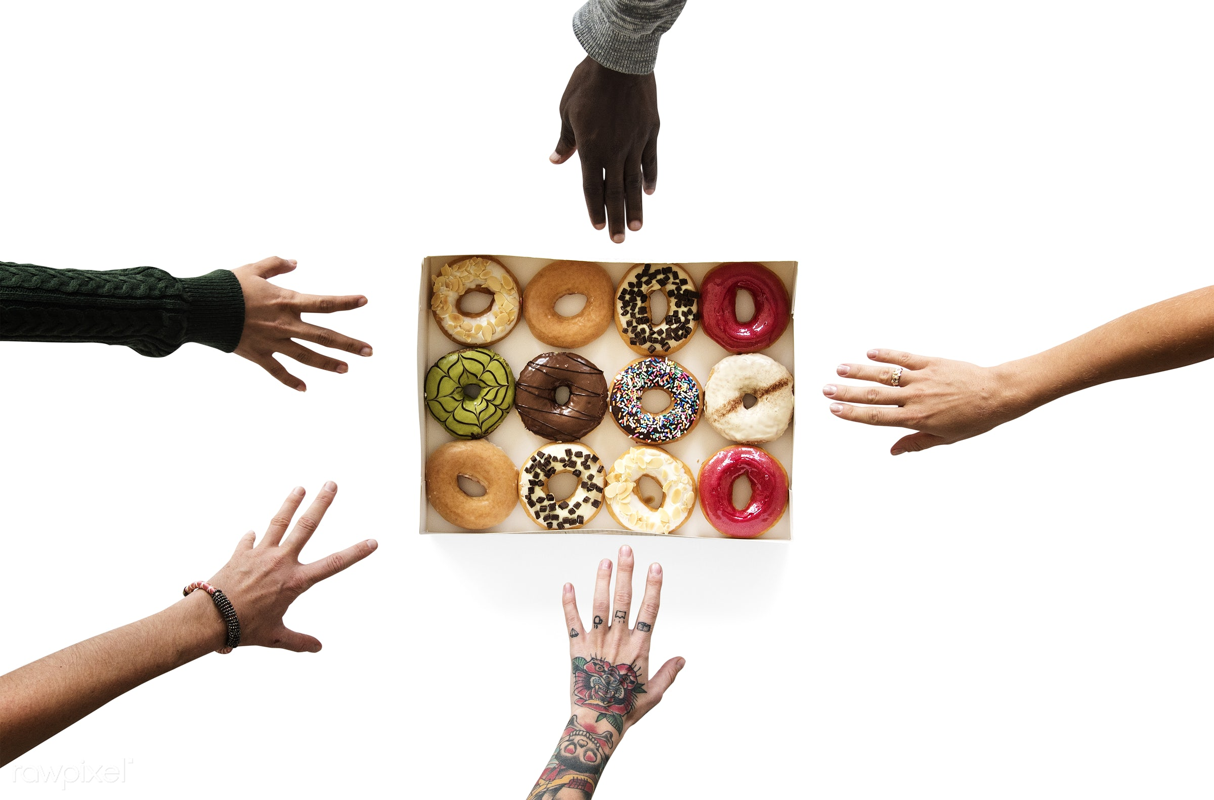 person, people, teamwork, friends, reaching, friendship, dessert, partnership, isolated, connection, doughnut, white, human...