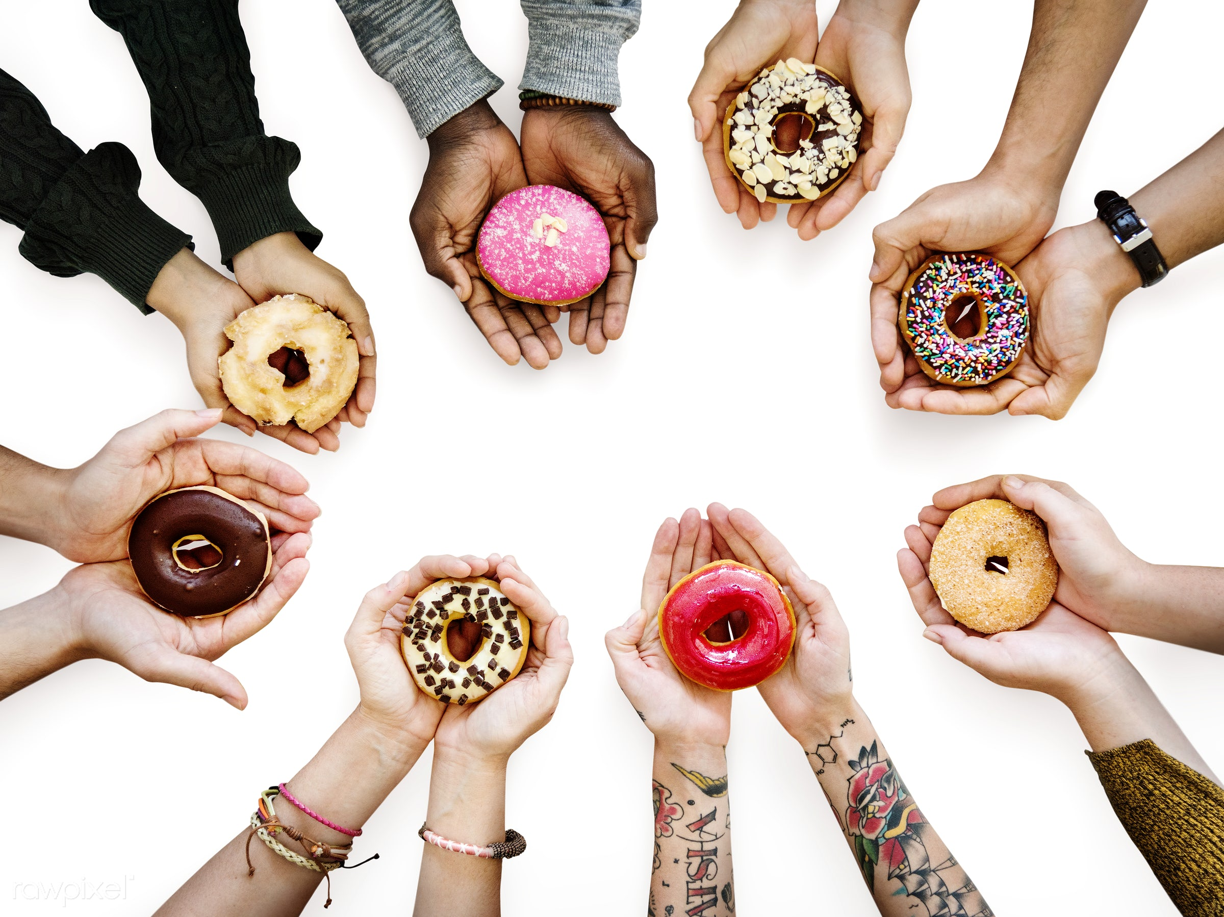 Diverse hands holding deliciously colorful donuts - chocolate, food, accessories, background, business, cafe, casual...