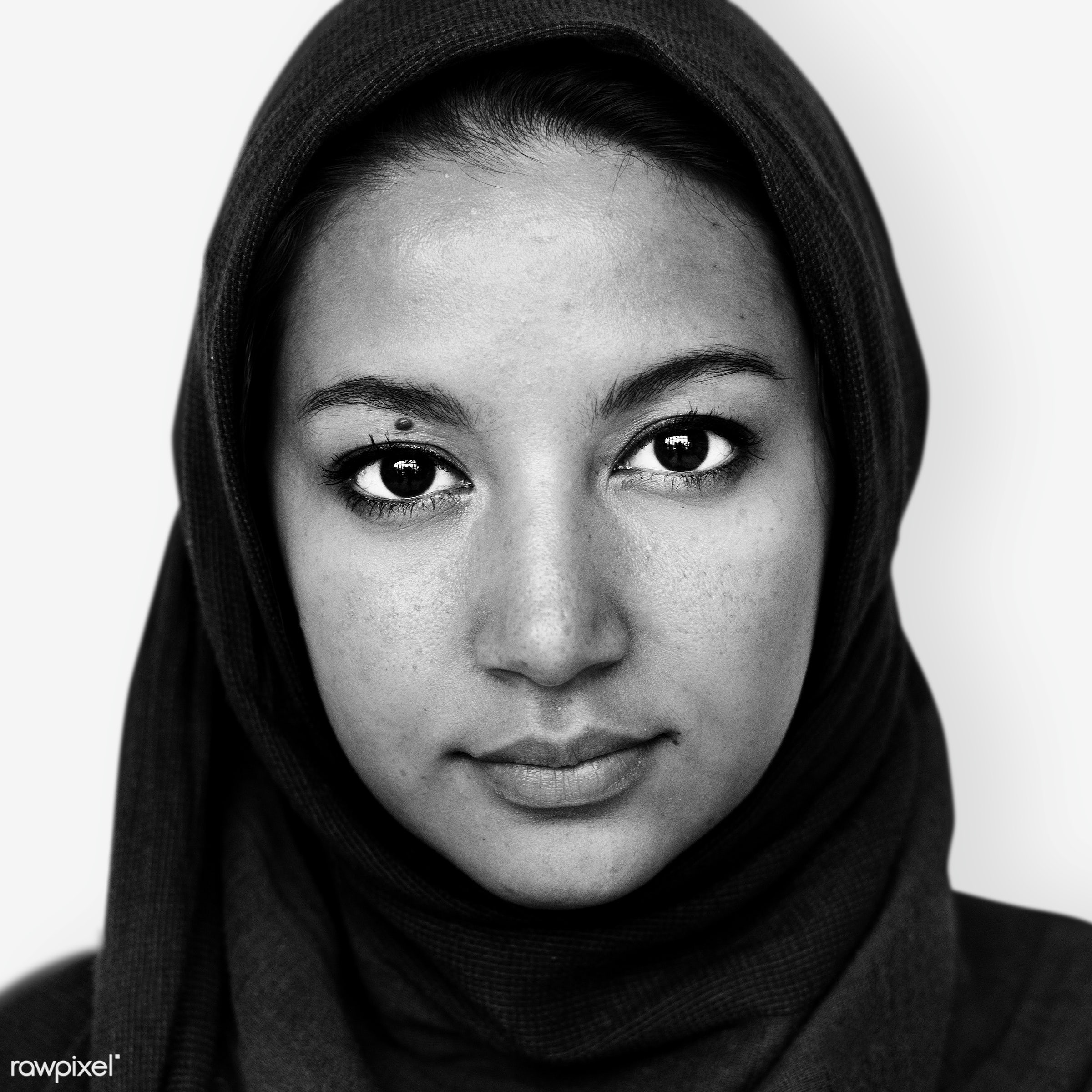 Portrait of an Iranian woman - alone, arab, arabian, arabic, black and white, culture, emotion, expression, face, feeling,...