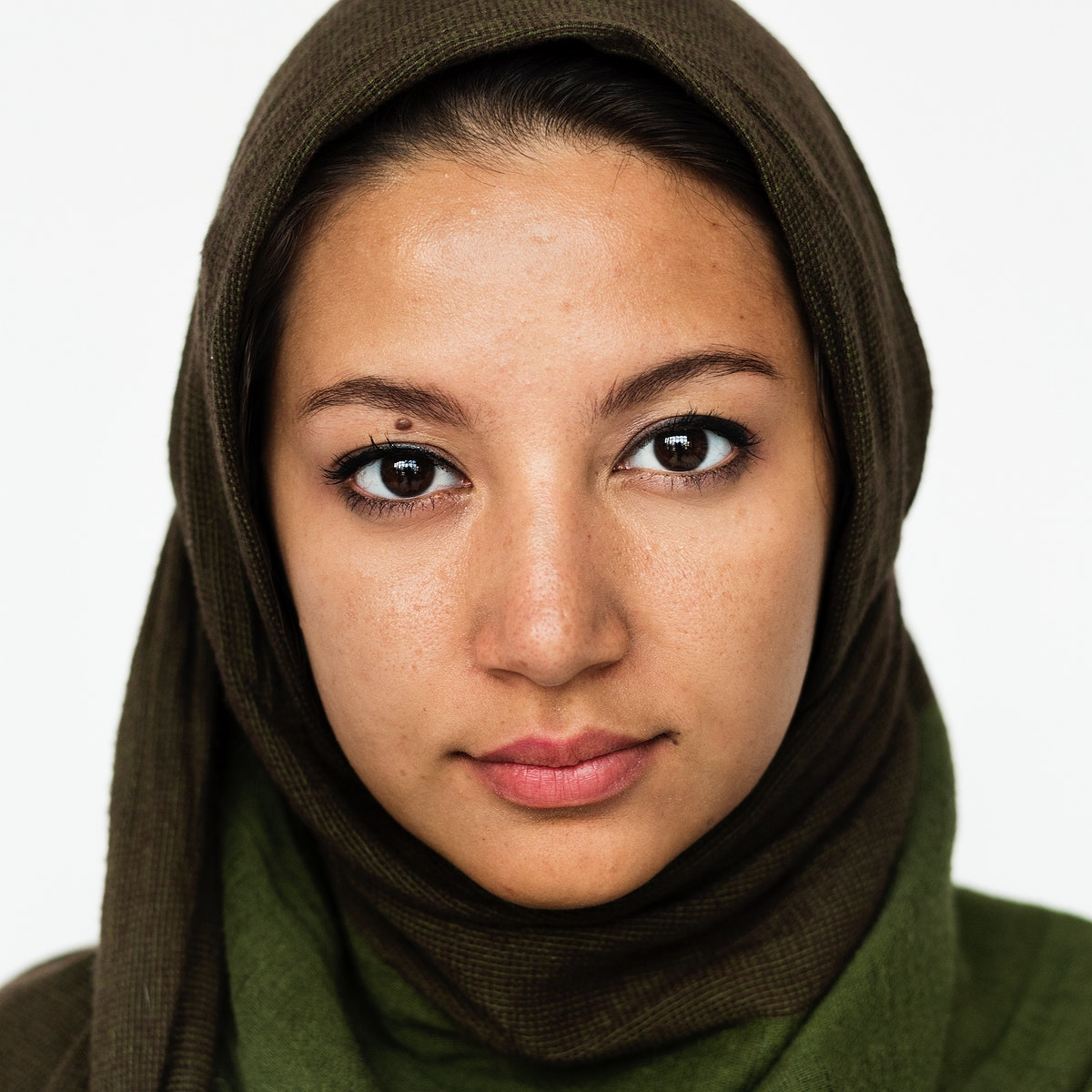 Worldface-Iranian woman in a white background