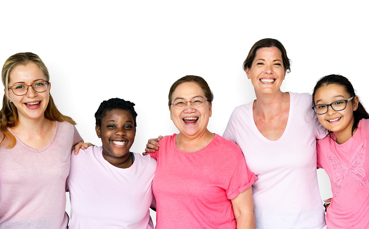 Group of diverse women in pink tee