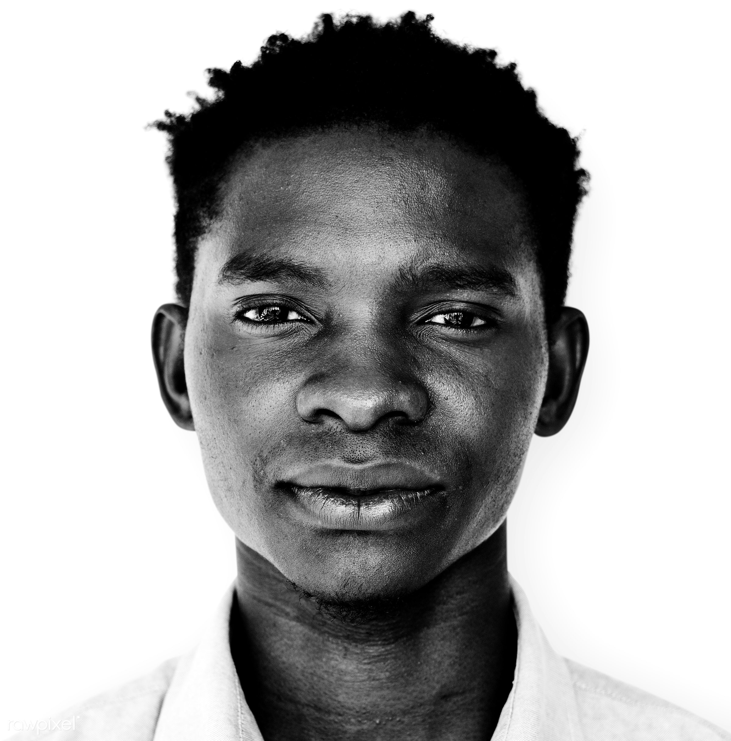 Portrait of an Ugandan man - african, african descent, alone, black, black and white, expression, face, feeling, grayscale,...